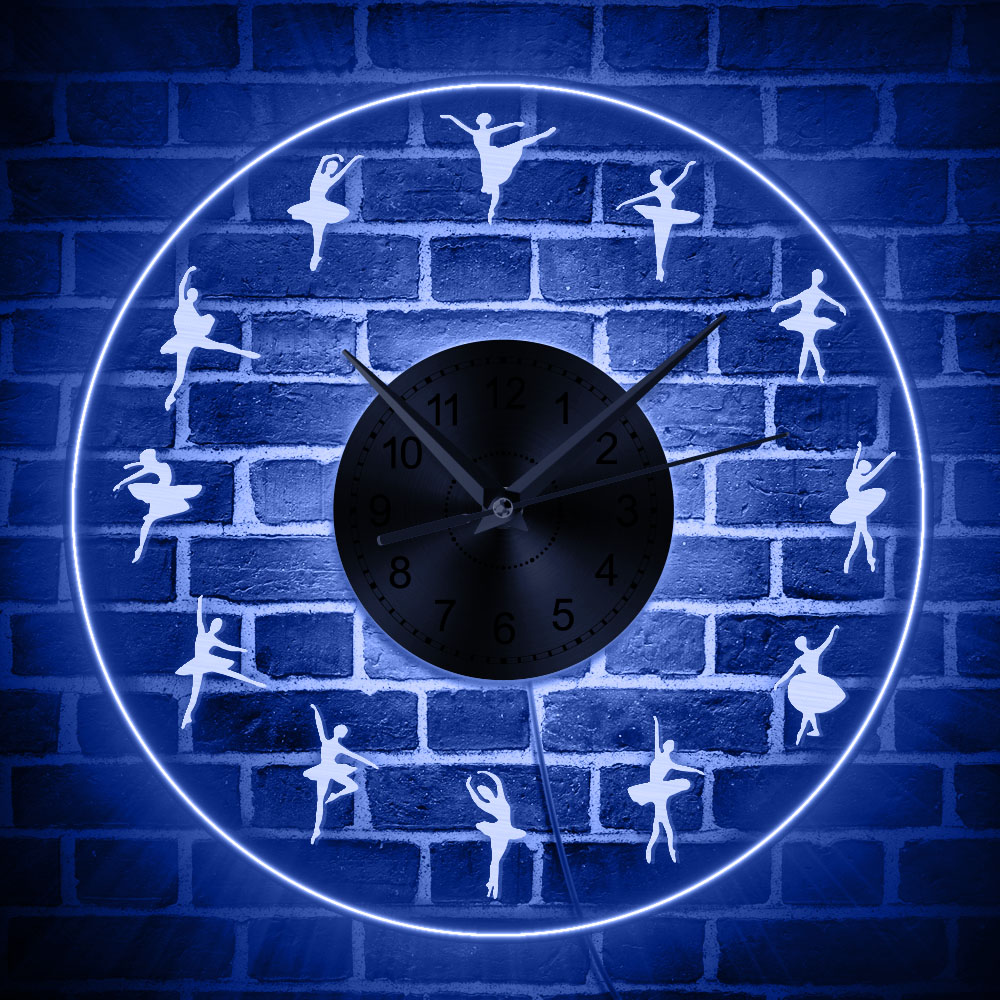 US $26 99 10% OFF|Ballerina LED Wall Clock Iconic Dancers Acrylic Edge Lit  Transparent Decorative Clock Wall Watch With Multi Colors Backlights-in
