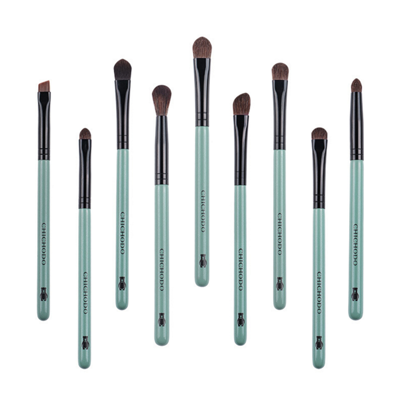9Pcs Eyeshadow Makeup Brush Set Pony Hair Eye Shadow Smoky Blending Eyebrow Make up Pencil Concealer Brush Red Pink Black Blue цена