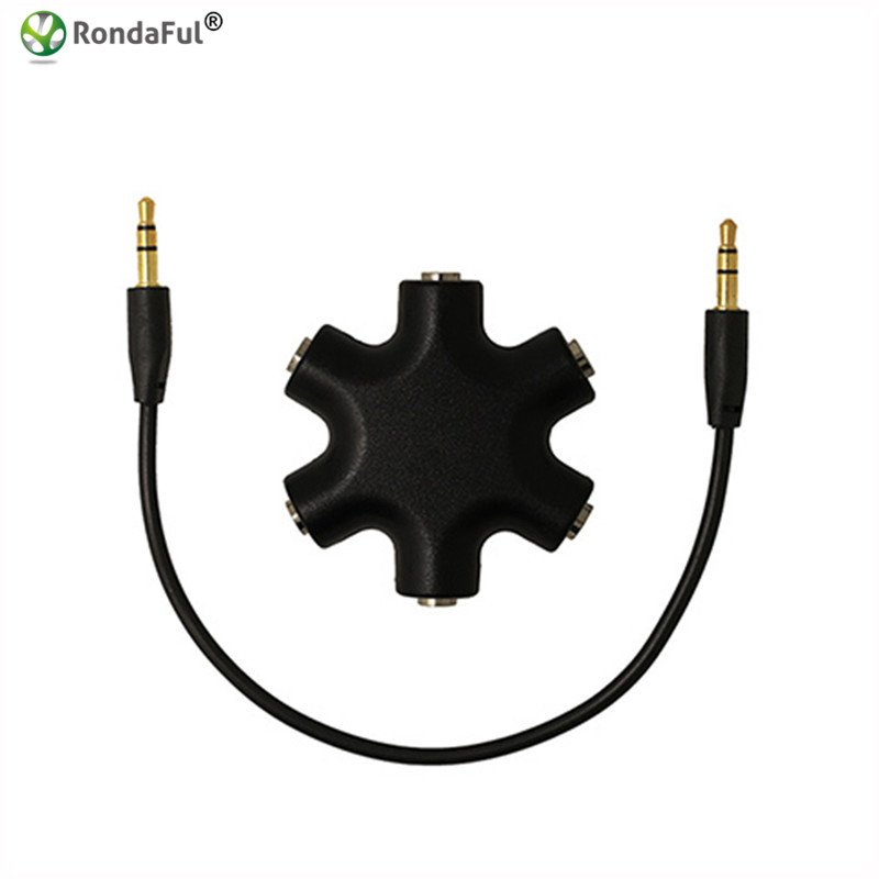 Quality 3.5mm Earphone Audio Splitter 1 Male to 1 2 3 4 5 Female Cable 5 Way Port Aux Music Sound Output Cables 28cm 3 5mm male to 3 5mm female audio adapters golden black 5 pcs