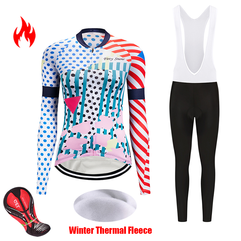 Female Winter thermal fleece cycling jersey set women's bike clothes kit outfit bib pro bicycle clothing uniform triathlon suit