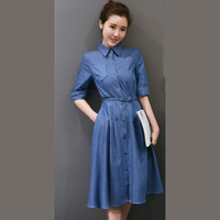 Women S Clothing Solid Color Half Sleeved Belt Slim Denim Shirt Dress Ladies Fashion Casual