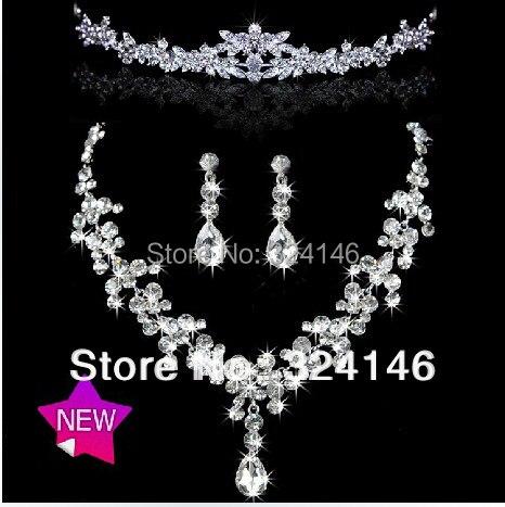 New fashion shiny water drop Rhinestone Wedding jewelry sets Tiara Necklaces Earring Stick Bride Jewelry Sets for Bridal Wedding