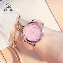 Easy Model Hong Kong GUOU Model Real Leather-based Quartz Wristwatches Wrist Look ahead to Girls Feminine Ladies Black White Pink