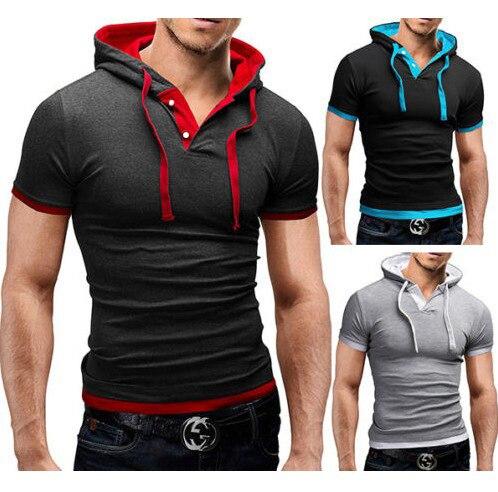 Fashion men t shirt Mens Hoodies short Sleeve Casual Pullover Hoodies Chandal Hombre Hip Top Men Hooded Sweatshirt men