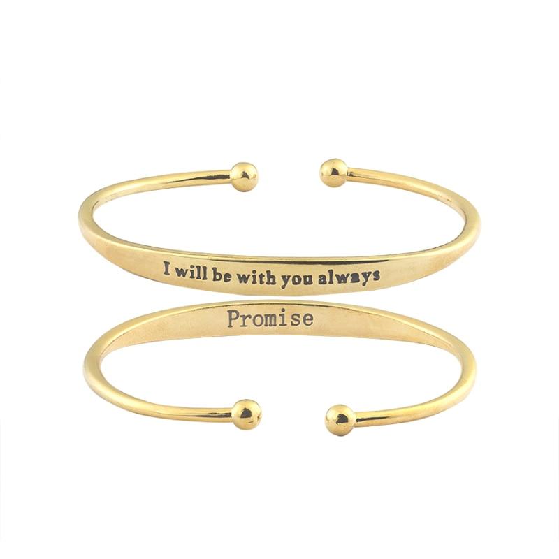 Justerbar graverad Jag kommer alltid att vara med dig Bangles & Armband Dubai Gold Color Alloy Metal Valentines Day Gift 2017
