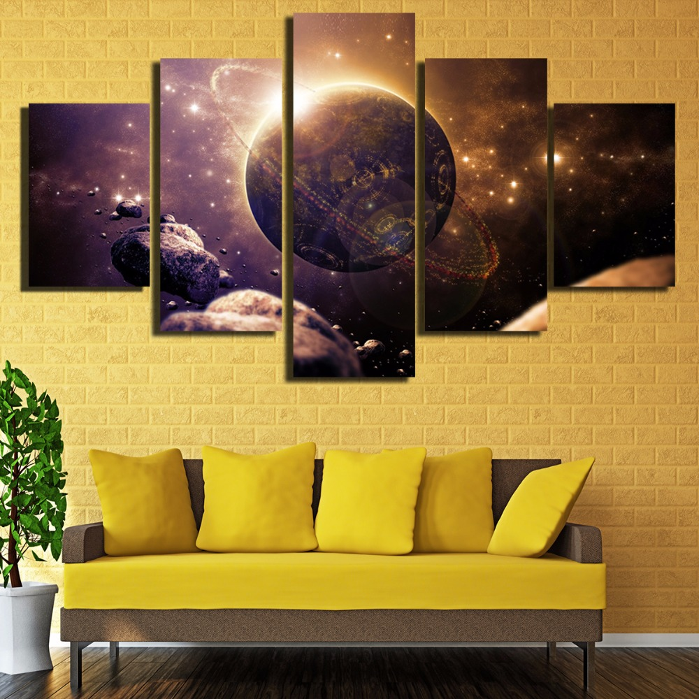 AtFipan Unframed Earth Space Stone Meteorites 5 Piece Modern Wall ...