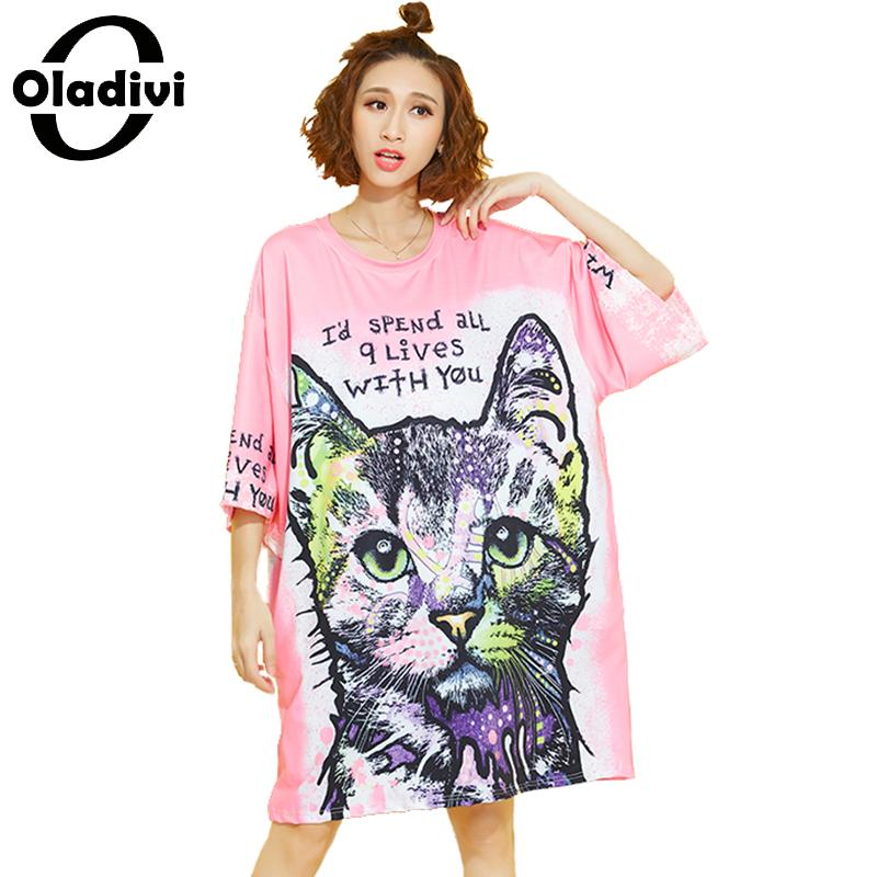Oladivi Plus Size Women Clothing Fashion Animal Print Loose Casual Dress 2019 Spring Summer New Oversized Long Tunic Top Vestido