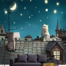 Beautiful fairytale roof of Persian cat moon stars background wall cloth custom 3d wallpaper mural