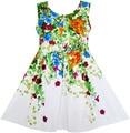 Sunny Fashion Girls Dress Elegant Princess Blooming Vine Ivy Flower Leaves Cotton 2017 Summer Wedding Party Dresses Size 4-10