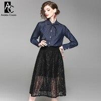 Mulher primavera outono conjunto de roupas de colarinho arco azul escuro denim camisa de algodão + saia transparente de renda preta sexy outfit bonito terno