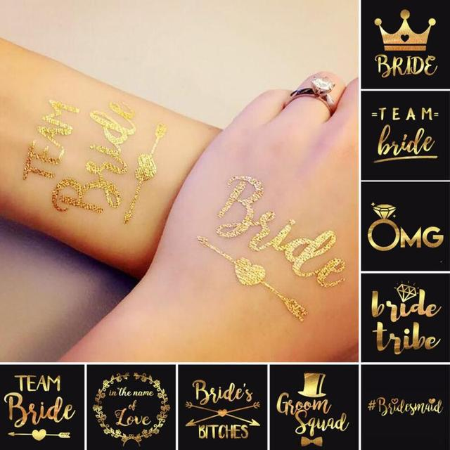 1Pc Bride Temporary Tattoo Bachelorette Party bride Flash Tattoos Creative Gold Bridesmaid bridal shower wedding decoration B3