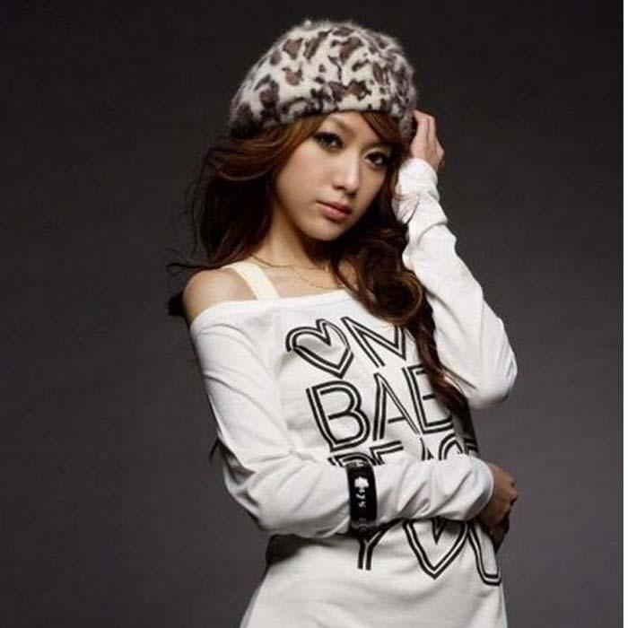 Rabbit fur Beret hat leopard female Beanie knitted mink Cap