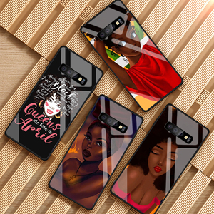 Queen Afro Melanin Poppin black girl Tempered Glass Phone Case For Samsung Galaxy S8 S9 S10 PLUS A6 A6S A8 A8S J6 J8 2018 NOTE 8(China)