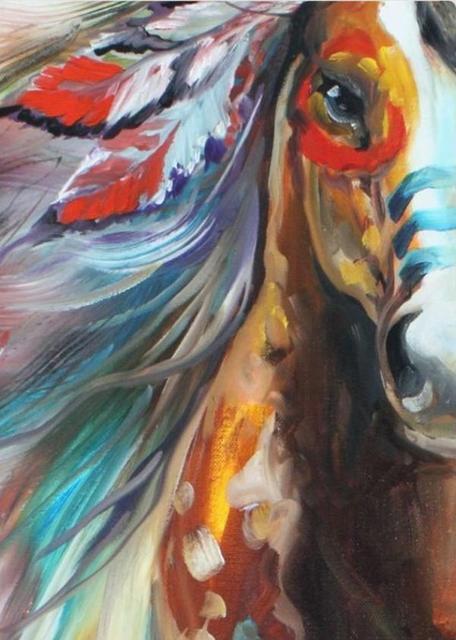Super Le Cheval de Bataille de indien, peint à la main abstraite cheval  KP72