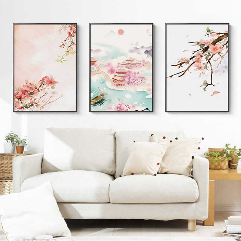 Japan Style watercolor Landscape Pink Flower Cherry Canvas Painting poster Art Wall Picture girl cute For Living Room Home Decor