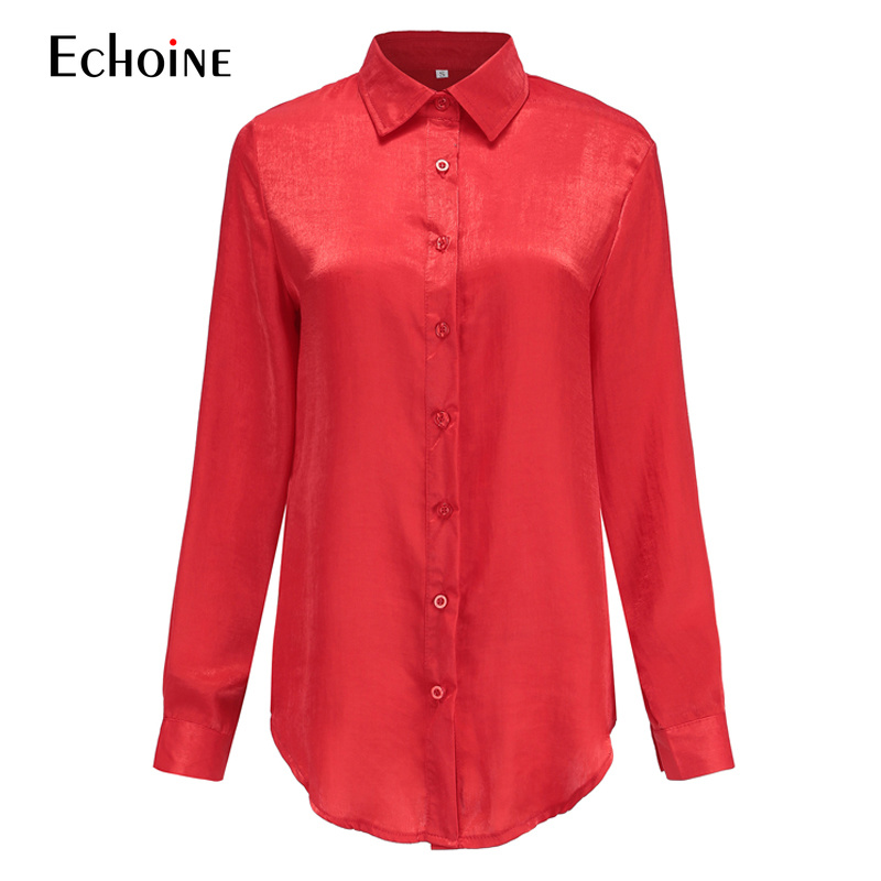 Silk Blouse Women Long Sleeve Red Satin Shirts Blouse Female 2019 New Spring summer Streetwear Elegant Casual Womens Tops Blusas
