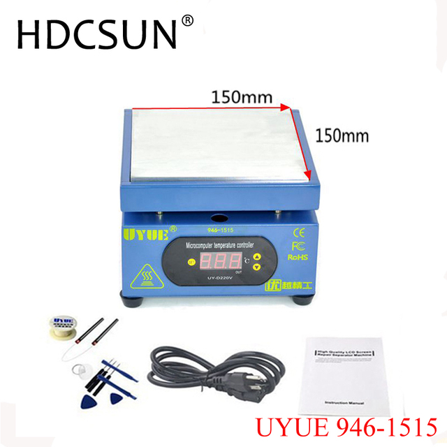 150*150MM Constant Temperature Heating Table LED Display Preheating Platform For Mobile Phone Repair UYUE 946-1515