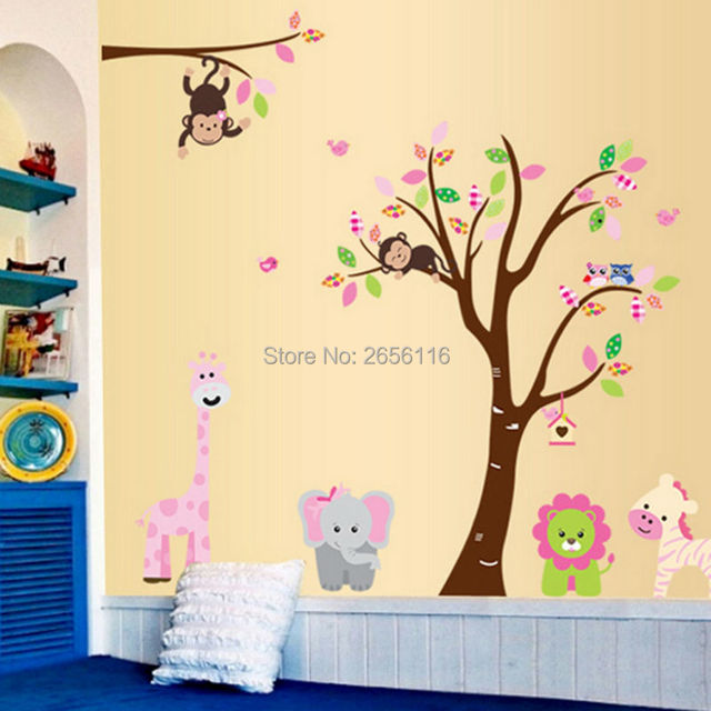 DIY Forest Animal Elephant Monkey Lion Giraffe Owls Wall Sticker ...