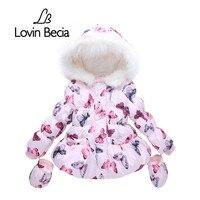 Lovinbecia Bebek Kız Moda Ceket Kış faux kürk Ceket Çocuklar Kalın Sıcak Kapüşonlu Parka Aşağı giysi Çocuk Giyim Giyim