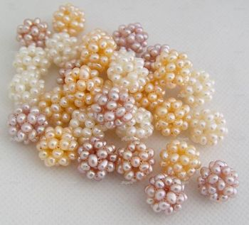 Miss00295 50 pcs natural white pink lilac pearl knitted ball gems