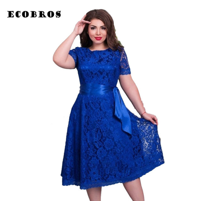 dcc2026481c ECOBROS Big size 6XL 2017 Summer Fat MM Woman Lace Dress Loose short sleeve  solid dresses with belt plus size women clothing 6xl
