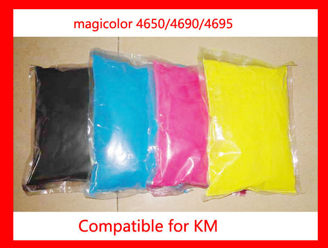 Free Shipping Compatible for Konica minolta magicolor 4650/4690/4695 Color Toner Powder 1kgx4bags kcmy color toner powder compatible for konica minolta magicolor 2300 2300w 2350 2350en refill color toner