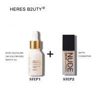 Бренд HERES B2UTY 24 К золото пропитанные красота масло плюс база жидкий основа для макияжа лица более увлажняющий длительный отбеливание водоне...