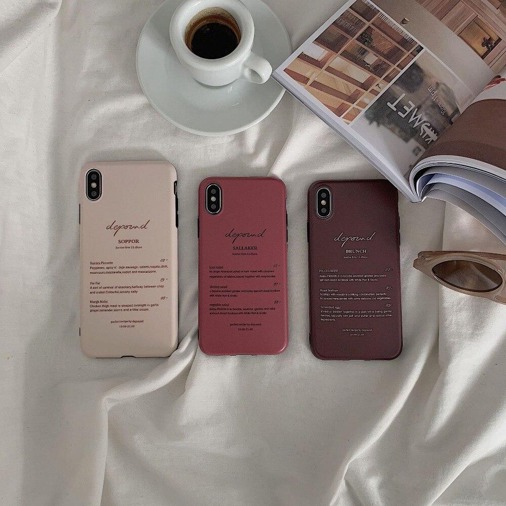 韓国スタイルのシンプルな英単語iPhone 6Sのための豪華な面白いケースXSマックスソフトシリコンTPUケースiPhone 6s 7plus 8の裏表紙iphone8ケースくすみカラー