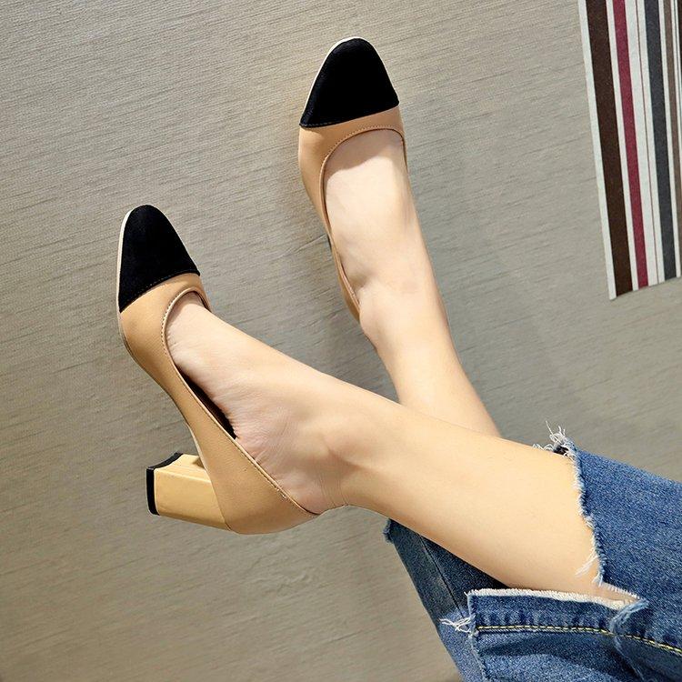 De Dama Otoño Alto Grueso Zapatos Cuero Solo Negro Mujer Con 2019 Nuevas Las Bombas Negro beige 5 Mujeres Tacón Cm pFSpYWZ1