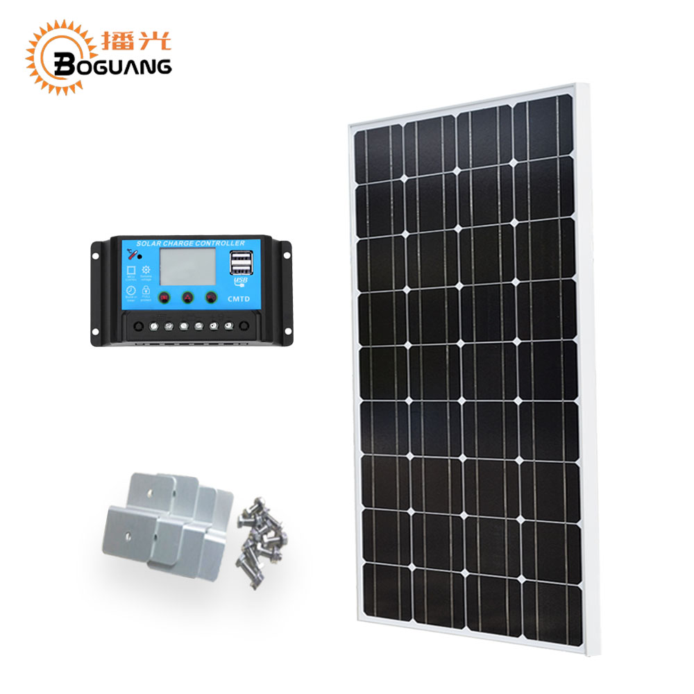 Boguang 100w solar panel 12v/24v/10A controller Monocrystalline silicon cell Photovoltaic module Bracket for battery light power high efficiency solar cell 100pcs grade a solar cell diy 100w solar panel solar generators