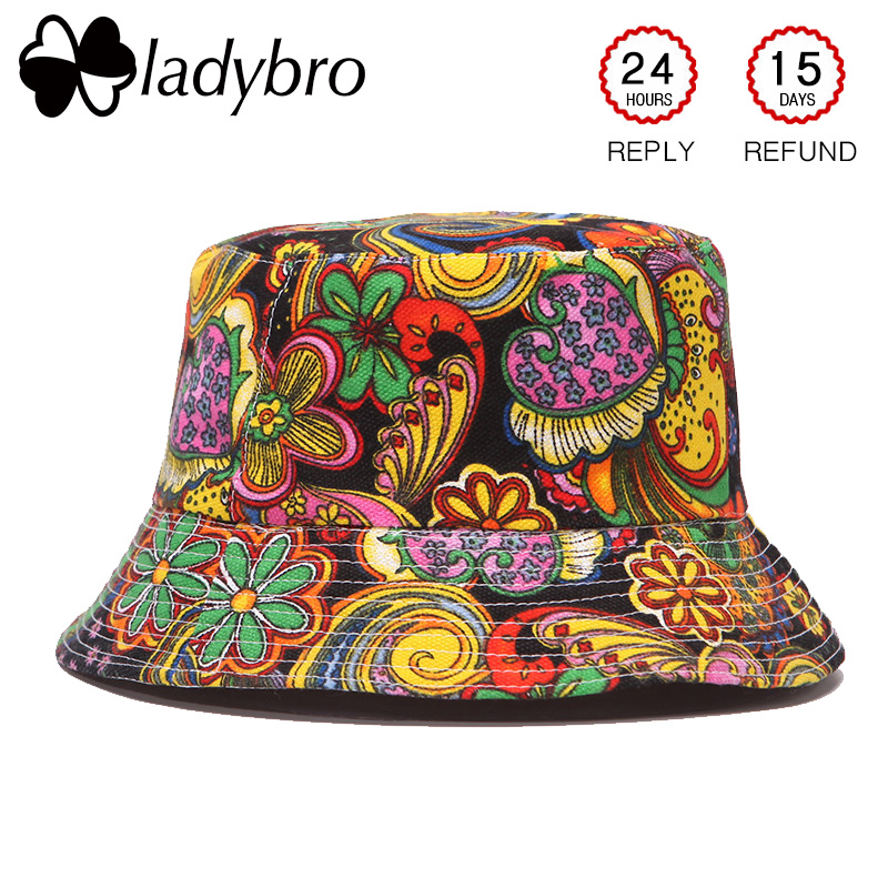 Ladybro őszi nő sapka férfi vödör kalap lapos felső hölgy nap - Ruházati kiegészítők