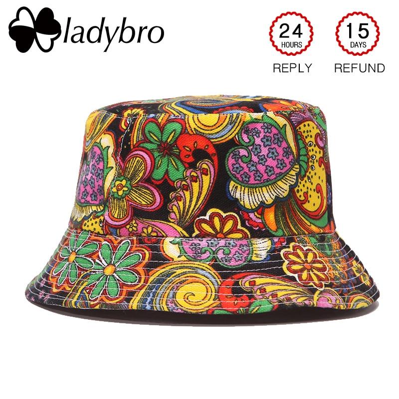 Ladybro الخريف النساء قبعة قبعة الرجال دلو قبعة شقة الأعلى سيدة قبعة الشمس الذكور الأزهار قبعة الإناث الصيف الهيب هوب كاب بوب الفاتحة فام