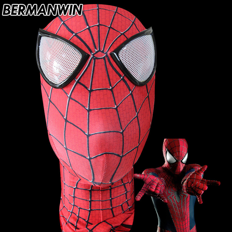 BERMANWIN High Quality Amazing Spiderman Face Mask Spandex Lycra Spider Man Mask For Halloween Party