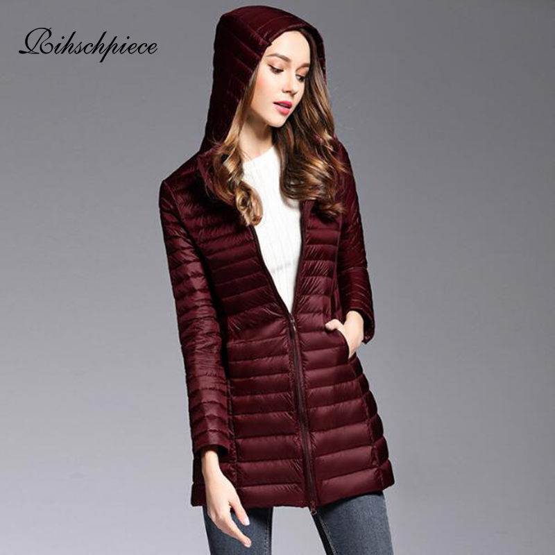 Rihschpiece Winter Plus Size 4XL Duck   Down   Jacket Women Ultra light Autumn Hoodie Long   Coat   Black Long Puffer Jackets RZF1514