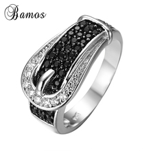Strap Design Female Black Ring White Gold Filled Jewelry Eng
