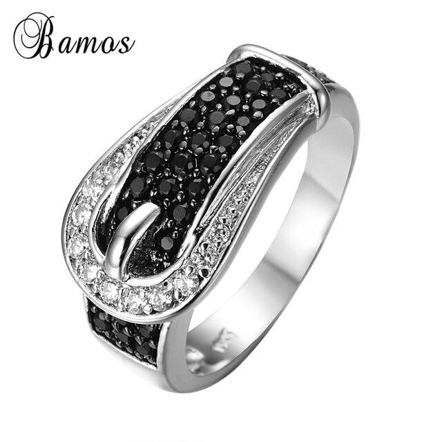 Strap Design Weibliche Schwarze Ring Weisses Gold Fullte Schmuck
