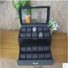 20-slot daul layer wooden struction leather dress fashion watch jewelry box case container organizer gift box black MSBH009C