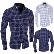 цена на Zogaa Long Sleeve Oxford Formal Casual Plaid Slim Fit Tee Dress Shirts Blouse Top Men Shirt Mens Shirts Camisa Masculina Camisa