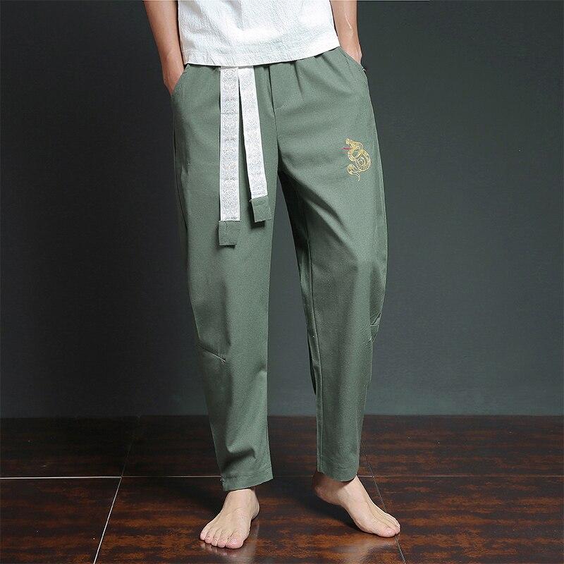 Male Fashion Casual Loose Casual Pant Men Embroidery Cotton Linen Harem Pants Jogger Trousers Sweatpants