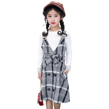 kids 2019 spring and autumn new girls suit fashion lattice college wind strap dress + white long-sleeved T-shirt 4-12 years