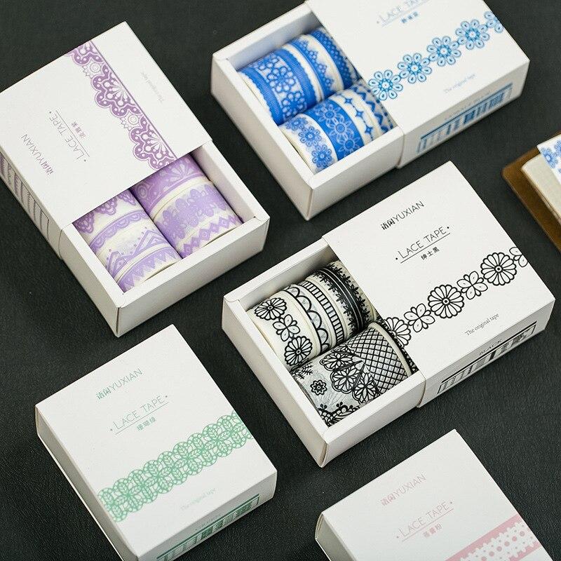 8pcs/pack Lace Washi Tape Adhesive Tape Diy Scrapbooking Sticker Label Masking Craft Tape