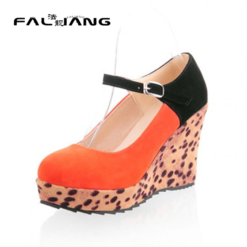 ФОТО New Sexy Leopard pumps wedge High heels ankle strap faux suede round toe Party platform Shoes Plus Size US4-10