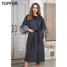 TOPFUR 110 CM Length Woolen Real Fur Coat Women Luxury Warm With Silver Fox Cuff Top Quality Fashion New Style