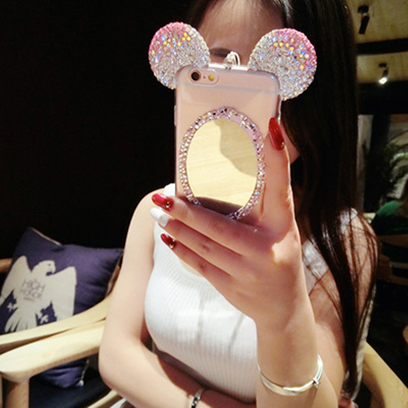 3D Makeup Glitter Mirror Mickey Mouse Rhinestone Diamond Ears Soft TPU Case Cover For iPhone 5 5s SE 6 6s Plus Chain Phone Shell