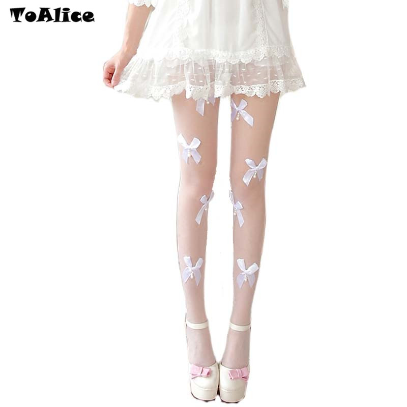Spring Summer Girls Tights Pearl Bow-knot Stockings Women Female Lolita Nylon Tights Japanese Pantyhose With Foot Hot Sale
