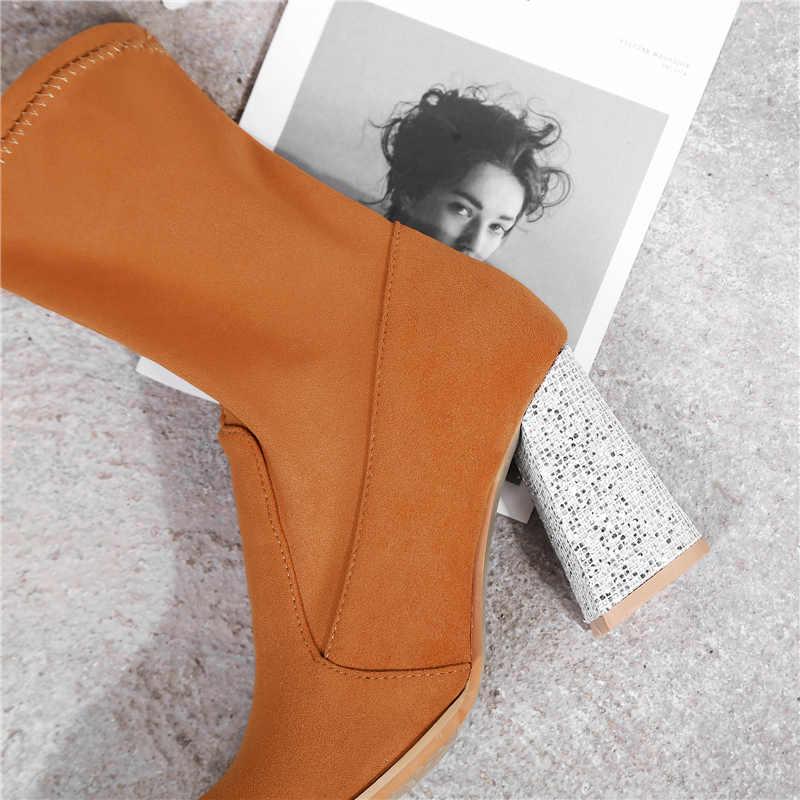 Plus Größe 33-43 Winter Frauen Stiefeletten 8,5 cm High Heels Casual Dicken Block Glitter Heels Bling Schnee schuhe Dame Chunky Stiefel