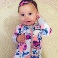 Infantil Bebê Recém-nascido Do Menino Roupas 2016 Macacão de Bebê Orquídea Impresso Meninas Macacão Criança Meninos Das Meninas da Roupa Do Bebê Recém-nascido Roupas