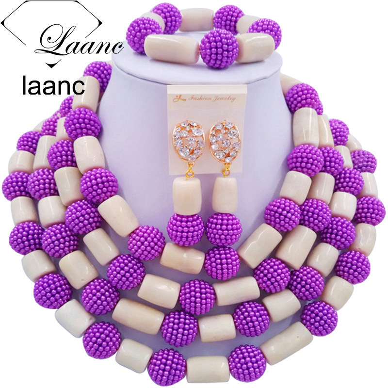 Laanc Purple Simulated Pearl and White Coral Jewelry Set Nigerian Wedding African Beads Necklace AL547Laanc Purple Simulated Pearl and White Coral Jewelry Set Nigerian Wedding African Beads Necklace AL547