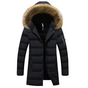 Image 1 - New Winter Mens Parkas Coats 웜 자켓 캐주얼 파카 남성 롱 자켓 캐주얼 슬림 피트 후드 의류 대형 5XL 6XL