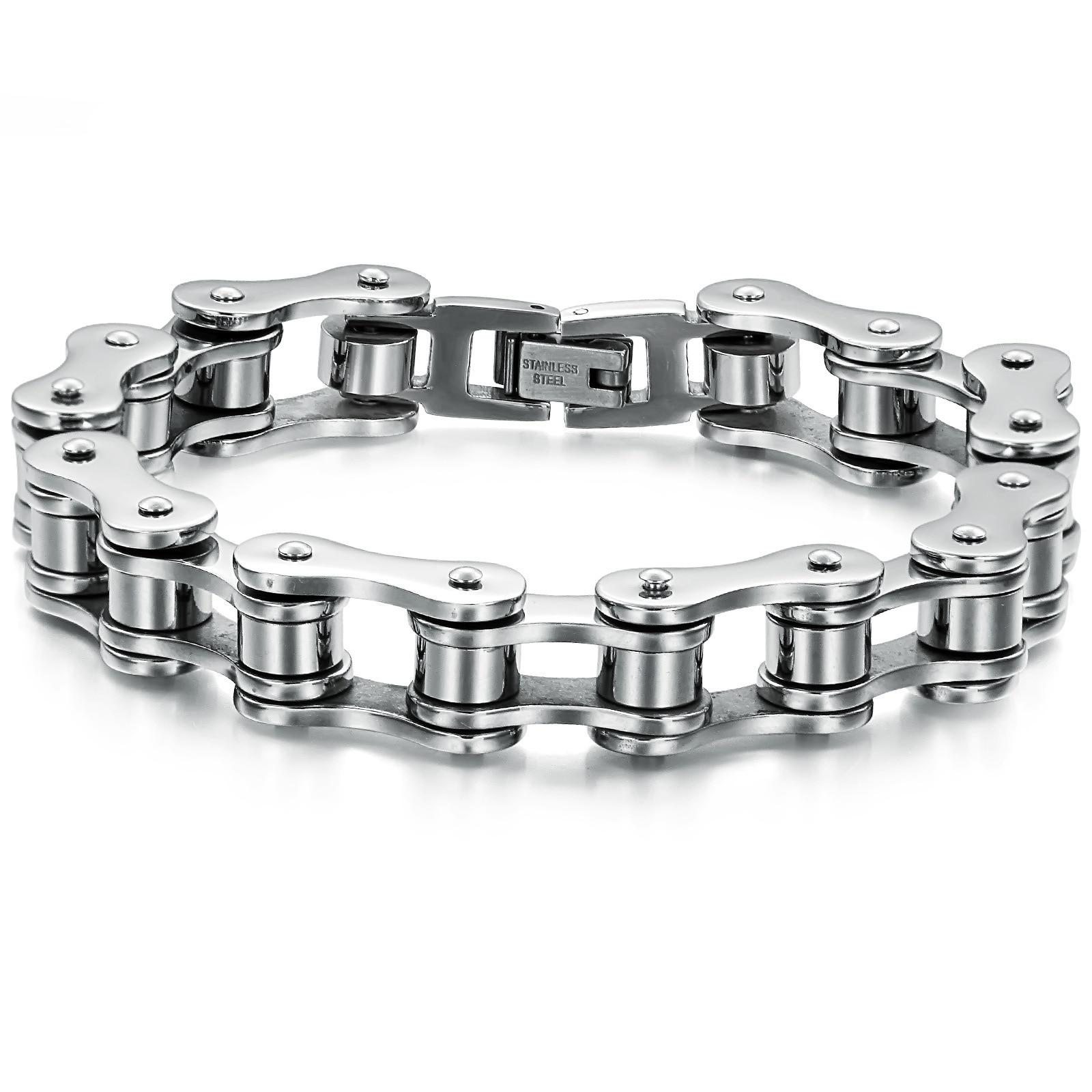 Shippping libre del acero inoxidable pulsera de plata del tono del motorista Bicicletas motocicleta cadena para hombre Pulseras y brazaletes joyería de moda